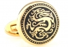 Golden black dragon circle cufflinks